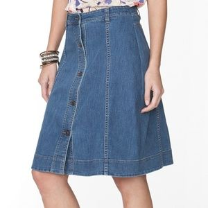 Petite Chaps A-Line Button Up Jean Skirt
